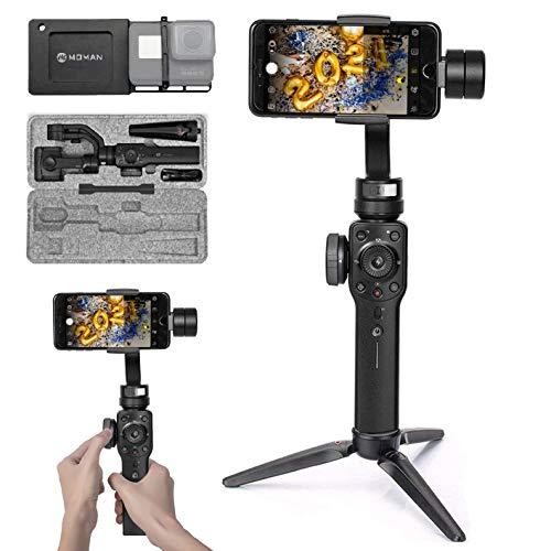 Zhiyun Smooth 4 Smartphone Gimbal mit GoPro-Gimbal Adapter, Mount Platte Halterung Handy Stabilisator 3-Achsen Handheld Stabilizer für GoPro Hero 7/6/5/4/3/3+ Actioncam Handy iPhone Samsung Huawei