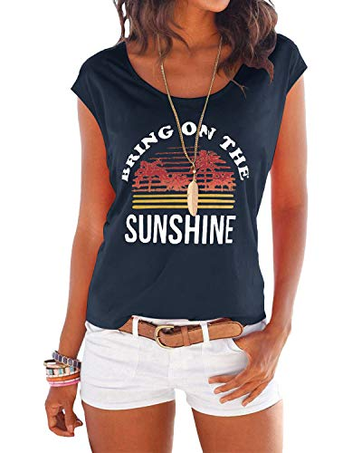 YOINS T-Shirt Damen Shirt Oberteile Sexy Oberteil für Damen Tops Sommer Einfarbig Ärmellos Rundhals mit Sterne Sunshine-Dunkelblau L