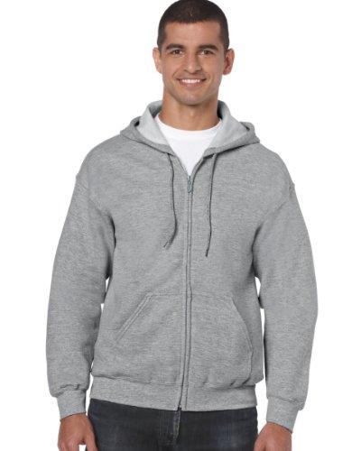 Gildan 18600 Heavy Blend Erwachsene Full Zip Hoodie Kapuzenpullover Sport Grau L