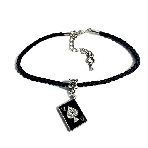 His and Hers Intimates  Queen of Spades Playing Card Anklet Jewelry - HotWife, Queen, Hot Wife, Bracelet, Infinity,Necklace, BBC, QOS, MFM, Swinger, Cuckold, Polyamory (Silk Twist Anklet)