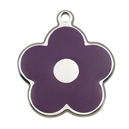 LuckyPet Pet ID Tag - Stainless Steel Flower Jewelry Tag - Dog & Cat Tags - Custom Engraved on Back - Size: Small, Color: Purple
