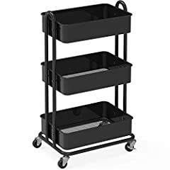 "Heavy-duty 3-tier metal rolling utility cart for storage and saving space Comes with Heavy duty 2"" Casters/Wheels with Brakes (2 lockable) Sturdy Metal construction with Classic Black paint Dimension: 17.25"" W x "" 32H x 13.5"" L"