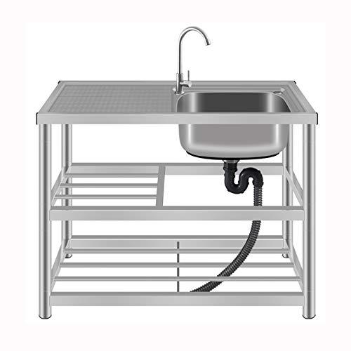 HOUSEHOLD Kit de Fregadero de Jardín de Acero Inoxidable con Grifo y Escurridor, Lavabo Comercial de 1 Compartimento, Fregadero de Verduras, Fregadero de Cocina de 2 Capas con Soporte