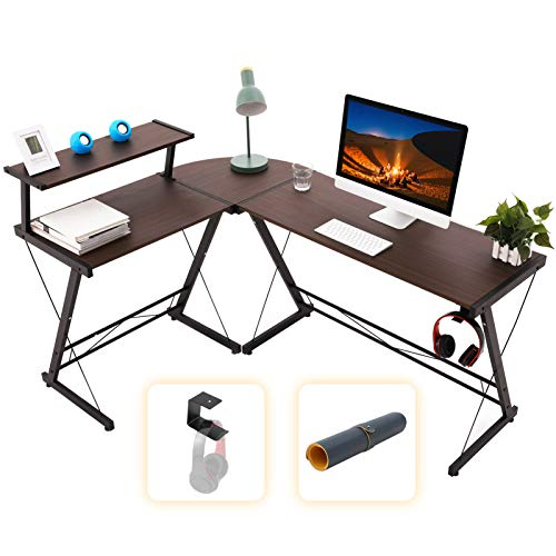 Gome L Shaped Computer Desk - 61' Corner Desk for Small Space, Modern Home Office Writing Desk for Work, Study and Gaming, Ergonomic Wood Desk withMonitor Stand, Desk Pad and Hanging Hook (Walnut)