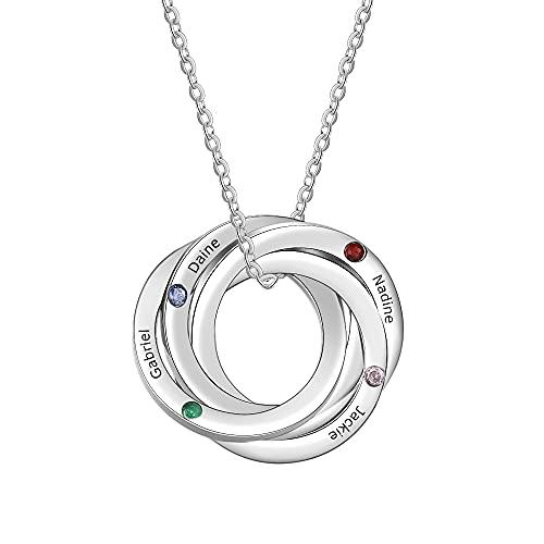 ZHUDJ Collar de Acero Inoxidable con Nombre, Cadena, Collar de círculo con 4 Piedras de Nacimiento, Regalos Personalizados para Mujeres de la Amistad