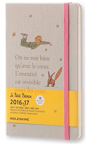 Moleskine Taschenkalender, 18 Monate, Der Kleine Prinz, Wochen Notizkalender, 2016/2017, Groß, A5, Hard Cover, hell grau