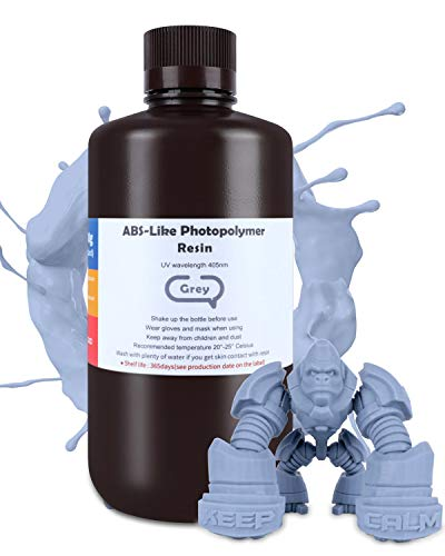 ELEGOO ABS-Like 3D Printer Resin 1kg Grey, Rapid Precise Printing Resin 405nm LCD UV-Curing for LCD 3D Printer