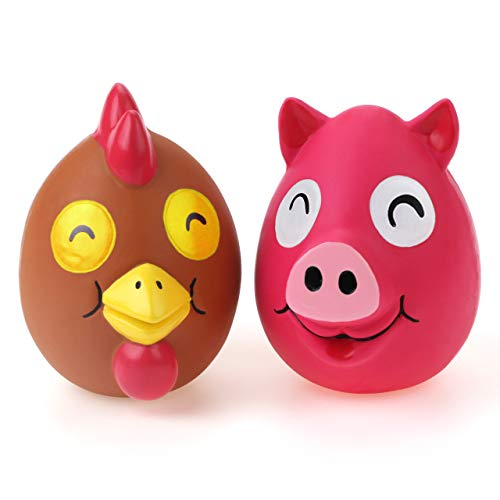 Chiwava 2 Stücks 4.1 Zoll Latex Quietsch Hundespielzeug für große mittelgroße Hunde lusitger Schweine Huhn Kau und Quietschend Spielzeug interaktives Spiel
