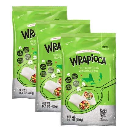 WRAPIOCA Brazilian Tapioca Flour Wrap - Gluten-Free, Paleo, Nut-Free, Dairy-Free Flour Alternative (3-Pack)