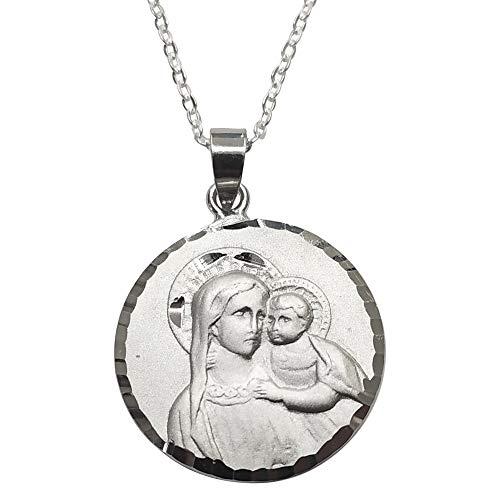 Sicuore Medalla Collar Virgen con Niño - Plata De Ley 925 Incluye Cadena De Plata De 45cm Y Estuche para Regalo