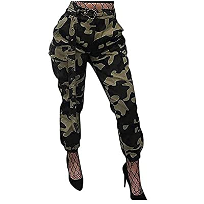 Cosygal Women's Camoflage Camo Jogger Cargo Pants Workout Sweatpants with Belt Pockets