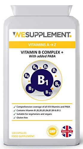 Vitamin B Complex High Strength - 120 Vegan Capsules - Vitamins B1,B2,B3,B5,B6,B7,B9 & B12 Plus Added PABA - Vegetarian & Vegan Friendly - Immune System Booster