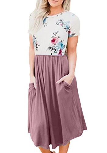 LAINAB Womens Casual Short Sleeve Floral Loose Beach Dress with Pockets Purple L