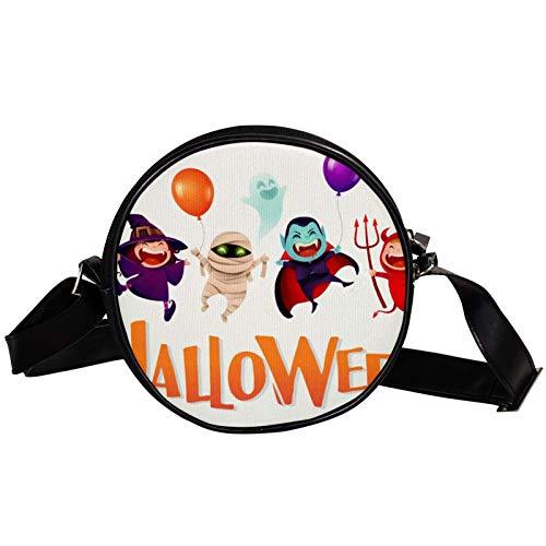 Bolsa de hombro redonda para disfraz de Halloween para nios, bolsa de hombro redonda con forma de crculo, bolsa de hombro