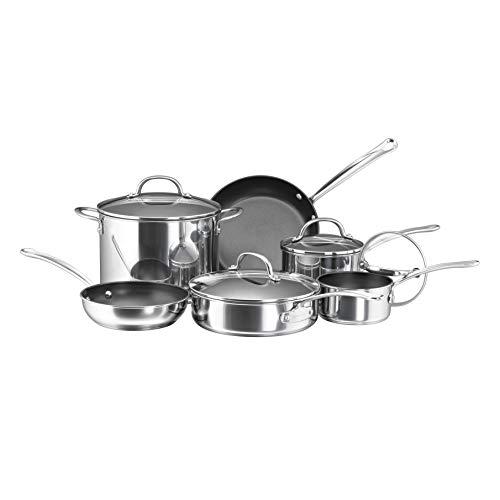 Farberware 75655 Millennium Stainless Steel Cookware Pots and Pans Set, 10 Piece