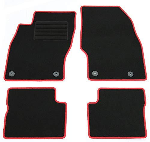 AD Tuning HG12055-ROT Fußmatten Set (4-teilig) Autoteppiche Schwarz/Rand Rot