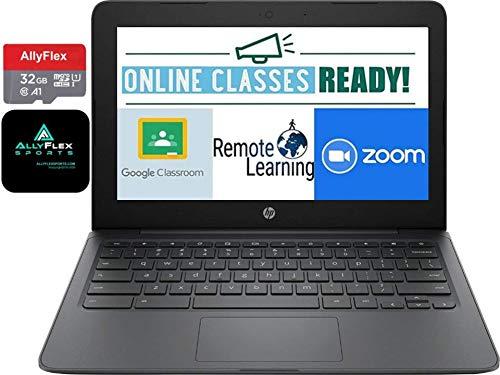 "2020 Newest HP Chromebook 11.6"" HD Laptop for Business and Student, Intel Celeron N3350, 4GB Memory, 64GB Space(32GB eMMC+32GB Micro SD), Webcam, USB-C, WiFi , Bluetooth, Chrome OS+AllyFlex MOUSPAD"