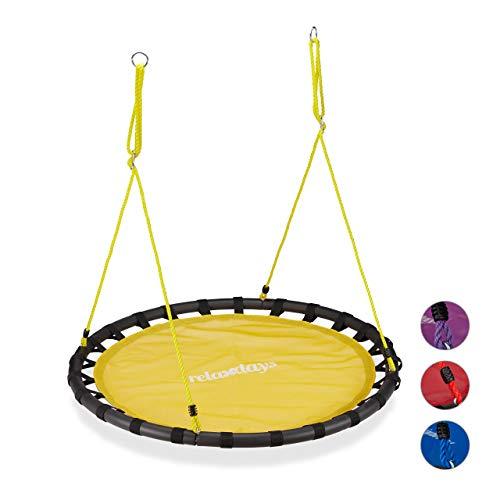 Relaxdays, gelb Nestschaukel, runde Hängeschaukel, für Kinder & Erwachsene, verstellbar, draußen, Ø: 120 cm, bis 100 kg