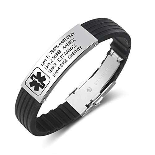 Love Jewelry Personalized 9 Inches Emergency ID Medical Bracelets for Men Engraved Wristband Silicone Sport Medical Alert Bracelets for Women (Style_1)
