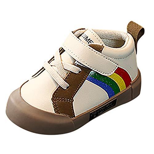 Oksea Baby Hausschuhe Kinderstiefel Jungen Mädchen Winterschuhe Warm Gefüttert Unisex Sneaker rutschfeste Stiefel Leichte Wanderstiefel Niedliche Regenbogen Kleinkind Schuhe