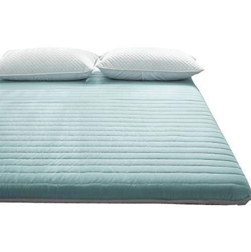 Folding 6cm Thick Tatami Floor,mattress Pad, Mattress Thick Durable Anti-slip Soft Bed Tatami Mat Traditional Japanese Futon Mattress Mattresses Bedroom Student (Color : Green, Size : 180 * 200cm)