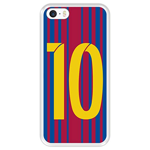 Hapdey Funda Transparente para [ Apple iPhone 5 5S SE ] diseño [ Ilustración fútbol, número 10 ] Carcasa Silicona Flexible TPU