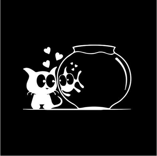 GenericBrands 5 Piezas Pegatina de Coche 15,4 CM * 9,3 CM Pegatinas de Coche Gato Peces Acuario Animales Divertidos calcomanía de Vinilo Blanco