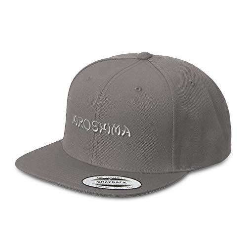 Speedy Pros Snapback Hats for Men & Women Hiroshima Japan Embroidery Acrylic Flat Bill Baseball Cap Dark Grey Design Only