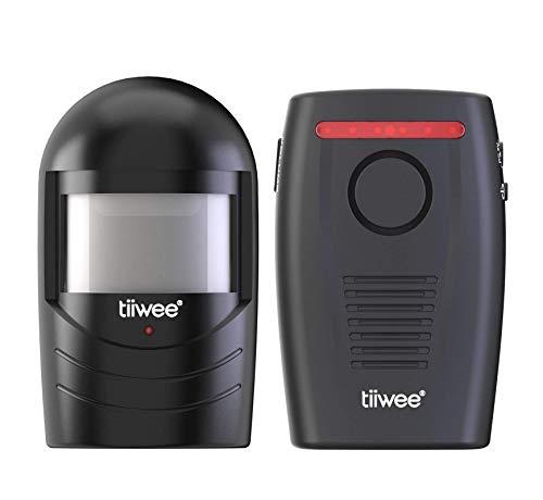 tiiwee Sensore di Movimento da Esterno - Allarme Vialetto di Accesso - Wireless - Sicurezza Domestica - Alimentato a Batteria - Nuovo Design Nero
