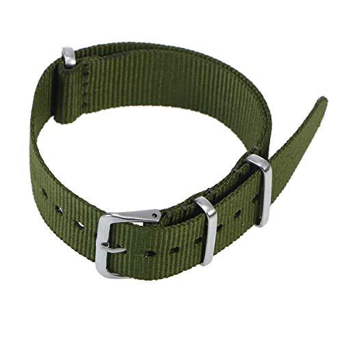 Baluue Correa de Reloj de Nylon, Correa de Pulsera Tejida de Repuesto, 18 mm (Verde Militar)