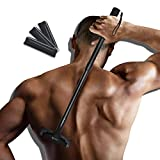 EASACE Back Hair Removal Back Groomer for Men, Body Shaver with Long Handle 21.5 Inch Adjustable, Curved Pain-Free Body Shaving Trimmer with 3 Durable Refill Blade (Black)