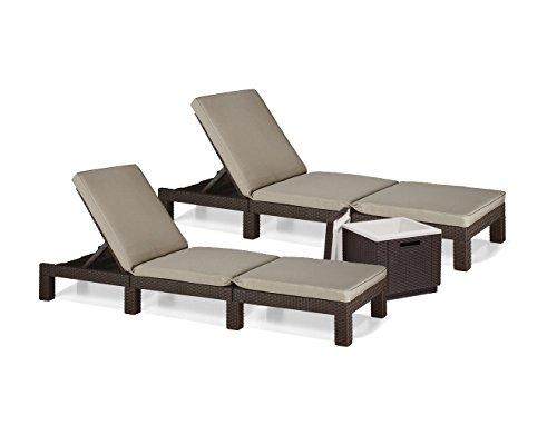 Sun lounger, garden lounger, set of 2, Allibert Daytona, polyrattan, rattan look coolbox, ice cube, brown including Condition