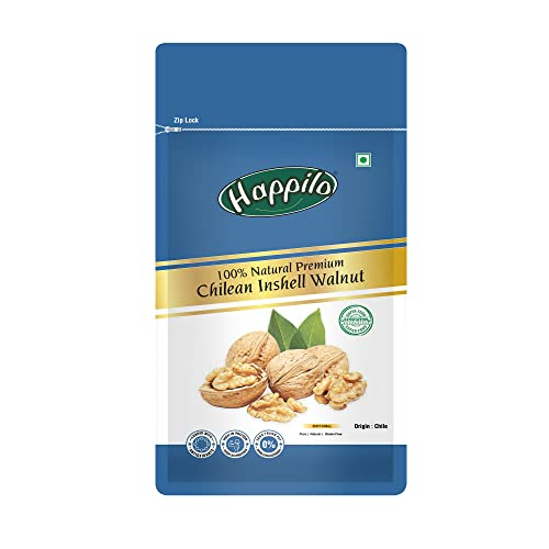 Happilo Premium International Chilean Inshell Walnuts 1 kg | With Shell | Extra White Walnut | Resealable Package | All Natural Akhrot| Snacking | Baking | Brownies | Dry Fruits