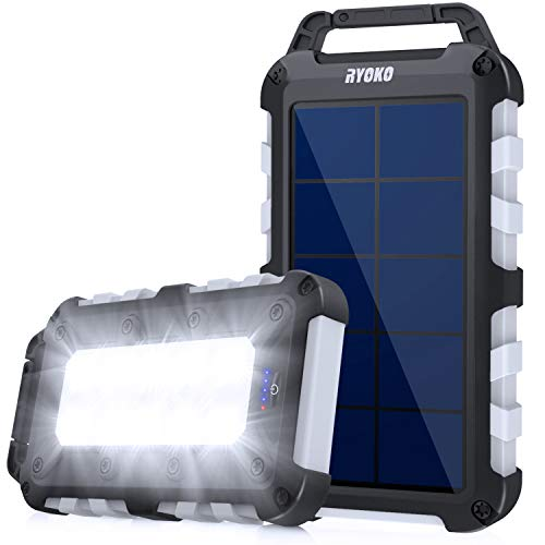 Solar Charger, Ryoko 20000mAh Solar Phone Charger Power Bank with Dual USB Output and LED Flashlights, Portable IPX4 Waterproof Solar Pannel External Battery Packs for Outdoor Camping Travel.