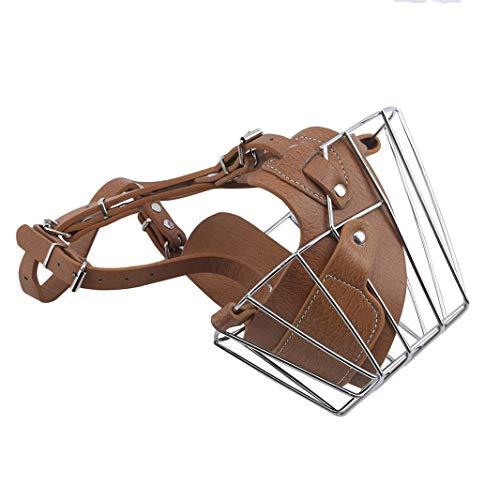 #N/A Bozal transpirable para perros de alambre de metal para mascotas, bozal ajustable para perros pequeños, medianos y grandes, para evitar que muerdan ladridos y masticen mascotas (marrón, X
