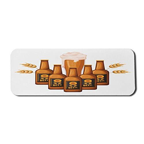 Bier Maus Pad für Computer, Cartoon Illustration von Flaschen und Glas mit Gerste, Rechteck rutschfeste Gummi Gaming Mousepad große gebrannte orange Aprikose