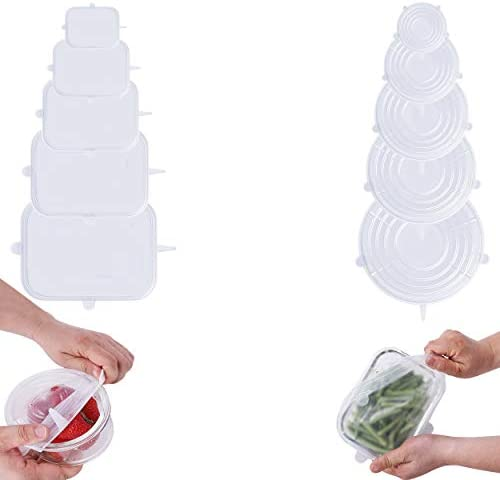Hensid Pack 12 Silicone Stretch Lids BPA Free Stretchable Round and Rectangle Food Covers to product image