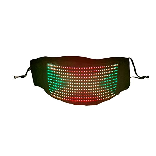 LED Luminous Light Up Face Mask Bluetooth Programmable Message Dispaly Rechargeable Mask Controlled by App Light Up DJ Party Led Glowing Rave LED Party Maskes (Black)