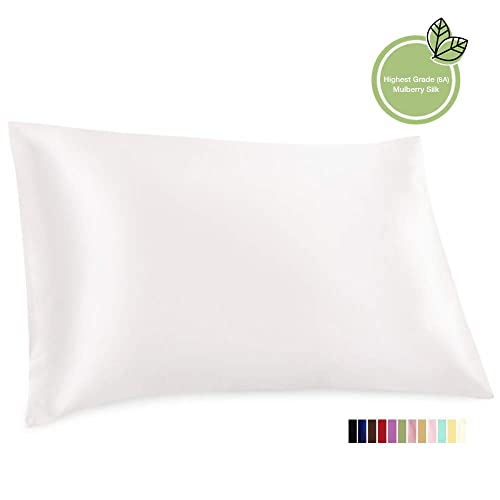 ElleSilk Pure Silk Pillowcase, 100% Mulberry Silk, 22 Momme Premium Quality, Superbly Soft, Cozy to Sleep on, 50 x 75cm, Queen, White, 1pc