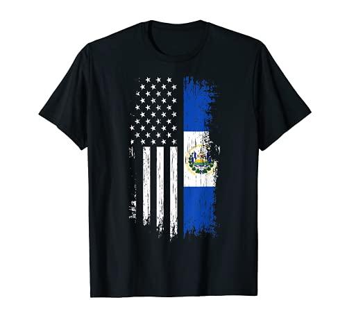 Salvadoran America Flag T-Shirt - El Salvador USA Shirt T-Shirt