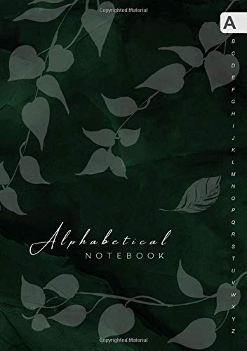 Alphabetical Notebook: B5 Lined-Journal Organizer Medium with A-Z Alphabet Tabs Printed | Cute Vine Leaves Design Marble Green Black