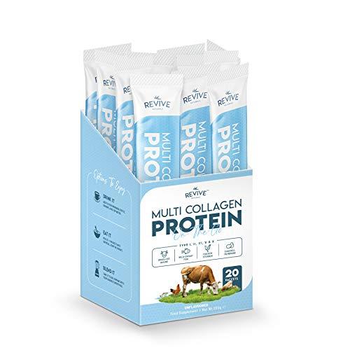 Multi Collagen Protein Powder Packets - 5 Types of Food Sourced Collagen Peptides - Hydrolysed Grass Fed Bovine, Wild Caught Marine & Free-Range Chicken (10g Each, 20 Packets)