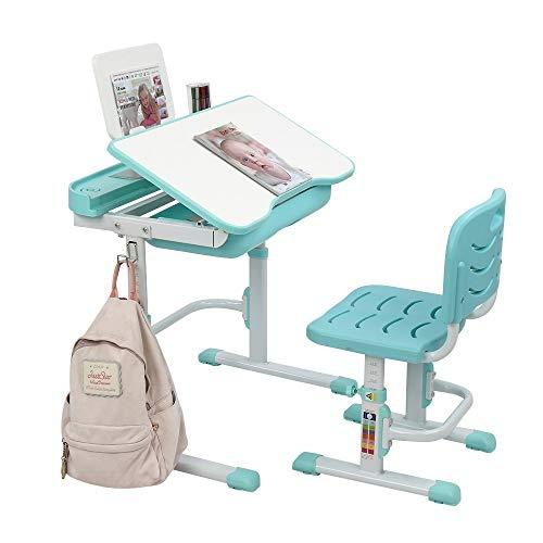 JYXJJKK Mesa de escritorio y silla para niños multifuncionales de compra directa británica, 70 cm, se puede inclinar, mesa de estudio y silla para niños (color azul)