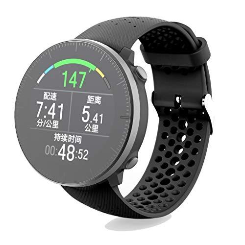 GROOMY Correa, Unisex Suave Silicona Muñequera Correa de Reloj Deportivo para Polar Vantage M Watch-Negro