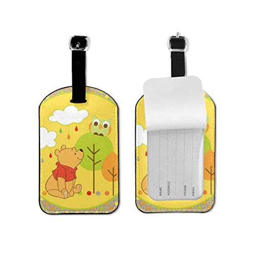 Winnie The Pooh Luggage Tags Adjustable Strap Leather Luggages Tag for Baggage Bags/Suitcases - Name ID Labels Set for Travel