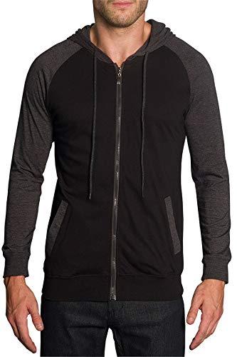 Victorious Men's Raglan Lightweight Zip Up Hoodie Sweatshirts TH864 - Black/Charcoal - Medium - A4G