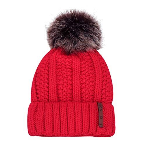 YXIU Frauen Mädchen Wintermütze, Winter Warme Strickmütze Beanie Mütze Verdicken Wollmütze Knit Windproof Cap (Rot)