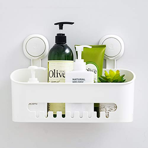 SWAMTIK Shower Caddy Suction Cup No Drilling Shower Shelf Removable Wall Mounted Caddy Organizer Perfect Bathroom Storage Waterproof Rustproof Shower Basket for Bathroom & Kitchen - White