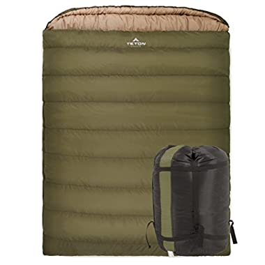 Teton Sports Mammoth 0F Double-Wide Sleeping Bag; Warm and Comfortable; Double Sleeping Bag Great for Family Camping; Compression Sack Included; Green