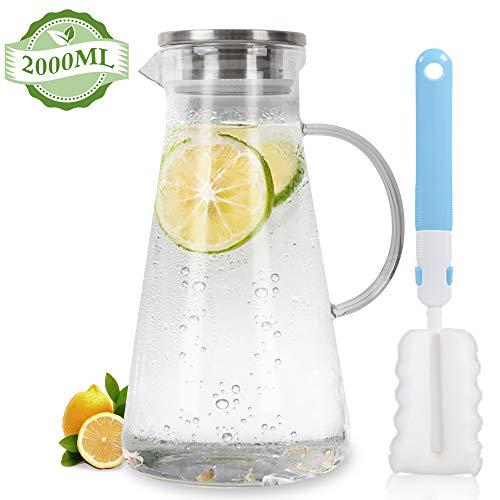 MUHOO Glaskaraffe 2 Liter Wasserkaraffe aus Glas, Borosilikatglas Karaffe Glaskaraffe mit Deckel Wasserkrug Glas Krug Eistee Krug mit Edelstahldeckel